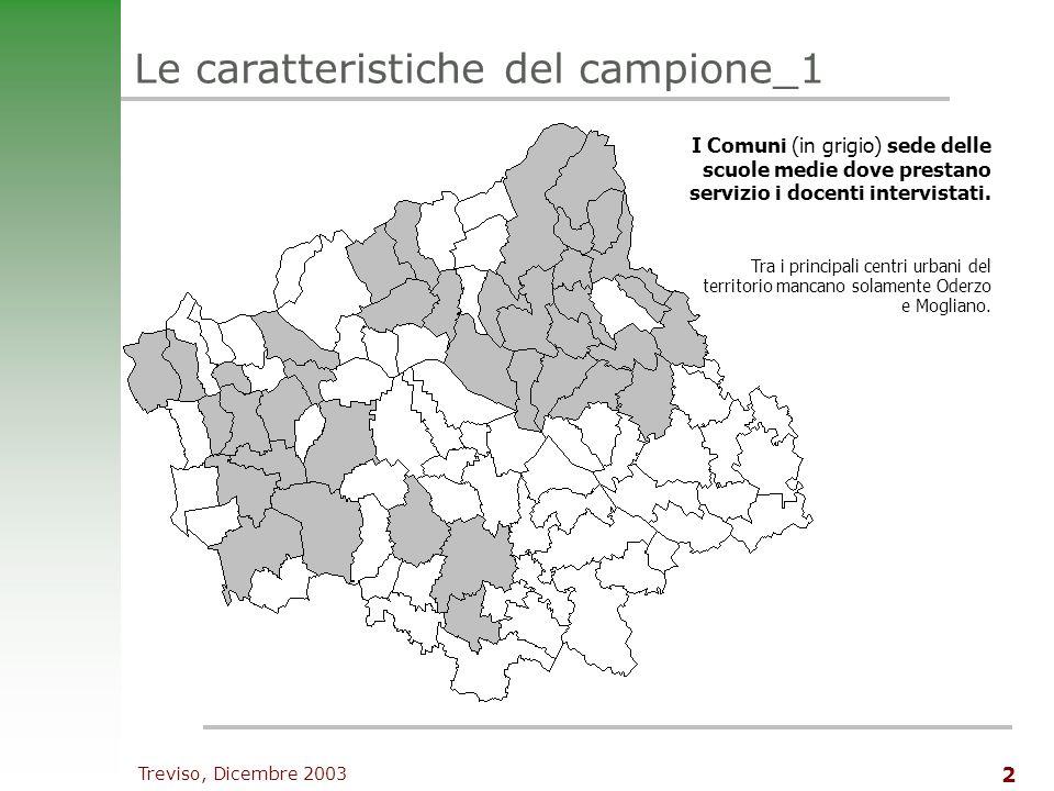 Treviso, Dicembre 2003 2 Le caratteristiche del campione_1 I Comuni (in grigio) sede delle scuole medie dove prestano servizio i docenti intervistati.