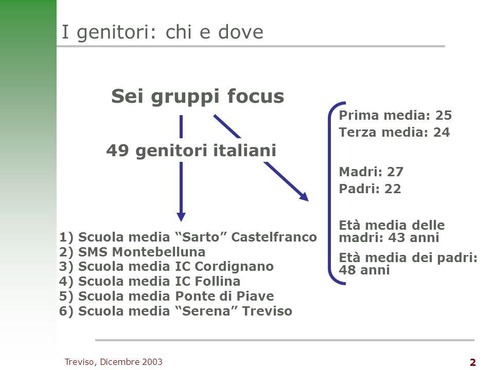 Treviso, Dicembre 2003 3 I genitori e lincontro con lo straniero accettazione condizionata Latteggiamento verso lo straniero è, nella maggioranza degli intervistati, di accettazione condizionata.