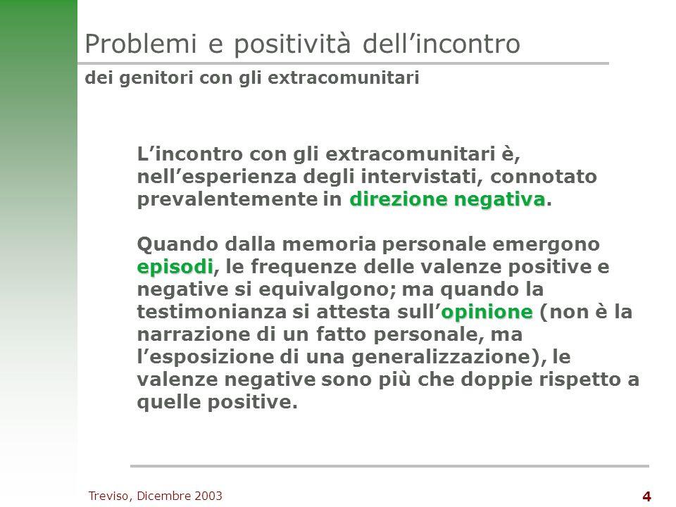 Treviso, Dicembre 2003 4 Problemi e positività dellincontro dei genitori con gli extracomunitari direzione negativa Lincontro con gli extracomunitari è, nellesperienza degli intervistati, connotato prevalentemente in direzione negativa.