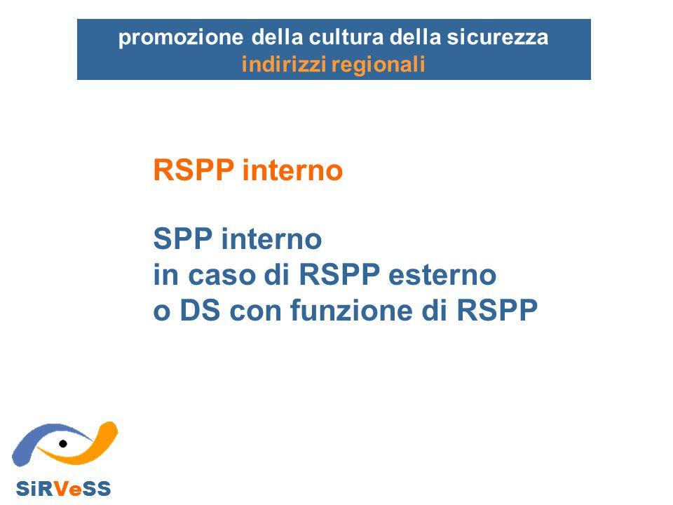 promozione della cultura della sicurezza indirizzi regionali SiRVeSS RSPP interno SPP interno in caso di RSPP esterno o DS con funzione di RSPP