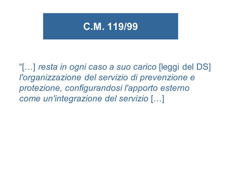 C.M. 119/99 […] resta in ogni caso a suo carico [leggi del DS] l'organizzazione del servizio di prevenzione e protezione, configurandosi l'apporto est