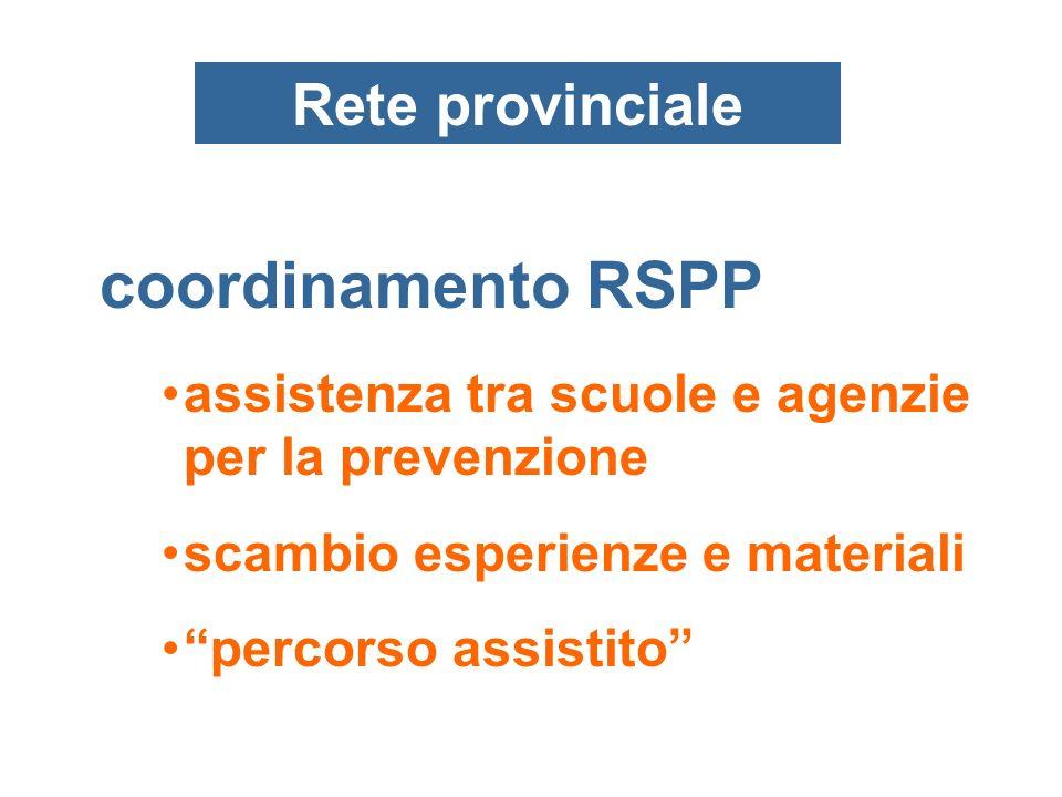 Rete provinciale assistenza tra scuole e agenzie per la prevenzione scambio esperienze e materiali percorso assistito coordinamento RSPP