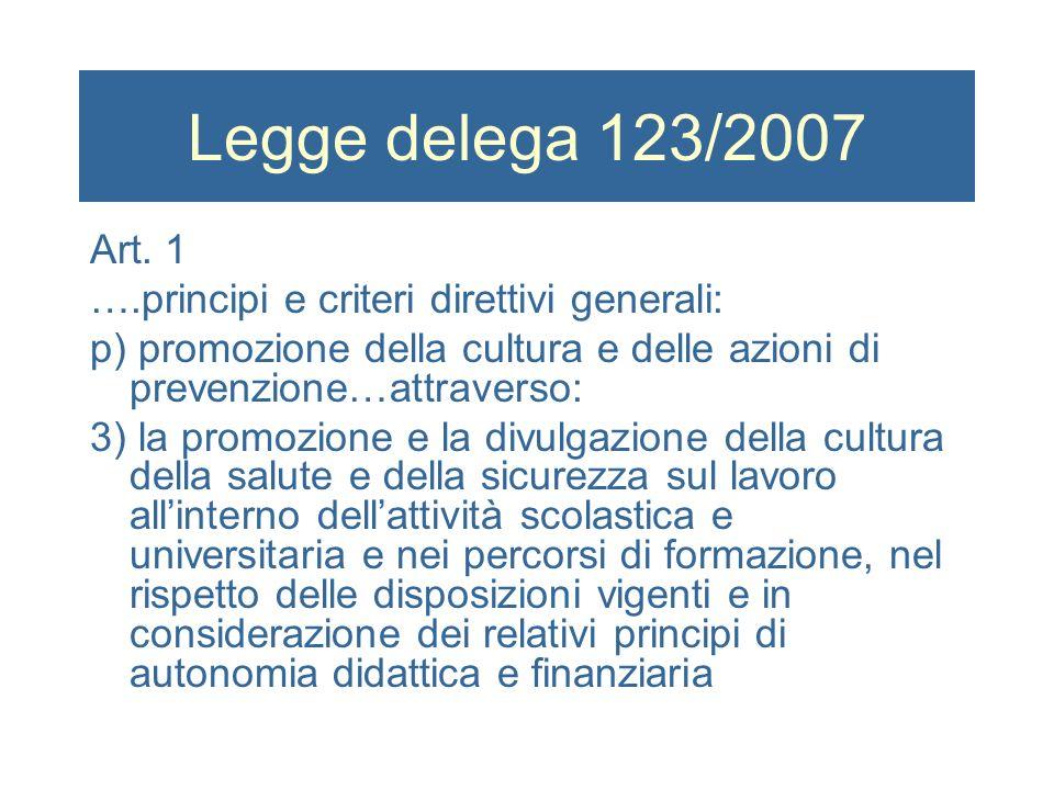 Legge delega 123/2007 Art. 1 ….principi e criteri direttivi generali: p) promozione della cultura e delle azioni di prevenzione…attraverso: 3) la prom