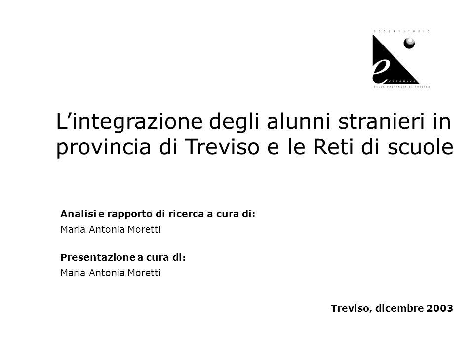 1 Lintegrazione degli alunni stranieri in provincia di Treviso e le Reti di scuole Analisi e rapporto di ricerca a cura di: Maria Antonia Moretti Pres