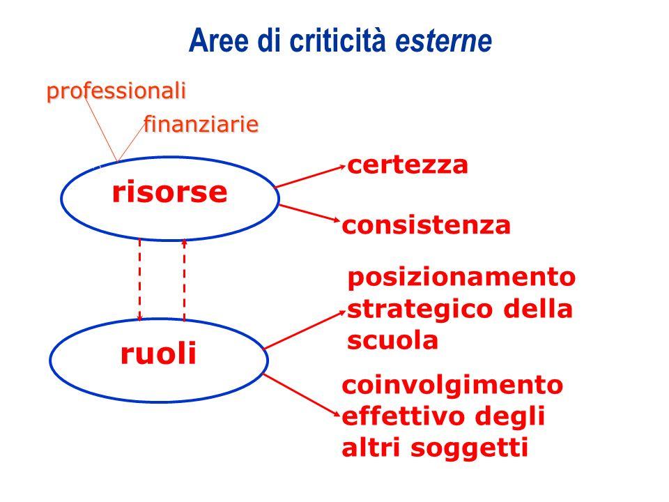 10 Aree di criticità esterne risorse ruoli certezza consistenza posizionamento strategico della scuola coinvolgimento effettivo degli altri soggetti p