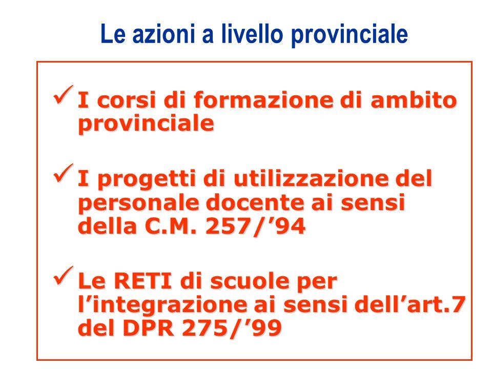 4 Le azioni a livello provinciale I corsi di formazione di ambito provinciale I corsi di formazione di ambito provinciale I progetti di utilizzazione