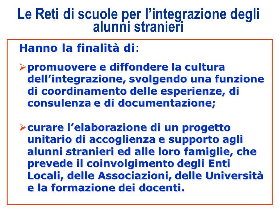 7 Le Reti di scuole per lintegrazione degli alunni stranieri Hanno la finalità di: promuovere e diffondere la cultura dellintegrazione, svolgendo una