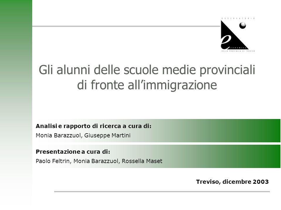 Gli alunni delle scuole medie provinciali di fronte allimmigrazione Treviso, dicembre 2003 Analisi e rapporto di ricerca a cura di: Monia Barazzuol, G