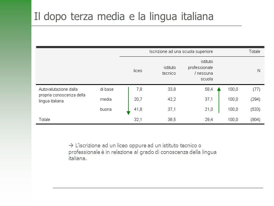 Il dopo terza media e la lingua italiana Liscrizione ad un liceo oppure ad un istituto tecnico o professionale è in relazione al grado di conoscenza della lingua italiana.