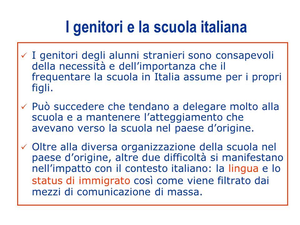 3 I genitori e la scuola italiana I genitori degli alunni stranieri sono consapevoli della necessità e dellimportanza che il frequentare la scuola in Italia assume per i propri figli.