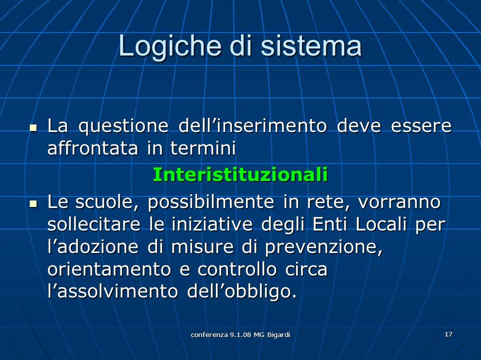 conferenza 9.1.08 MG Bigardi 17 Logiche di sistema La questione dellinserimento deve essere affrontata in termini La questione dellinserimento deve es