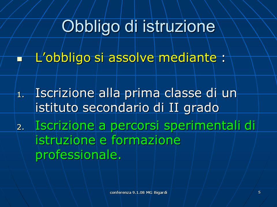 conferenza 9.1.08 MG Bigardi 5 Obbligo di istruzione Lobbligo si assolve mediante : Lobbligo si assolve mediante : 1. Iscrizione alla prima classe di