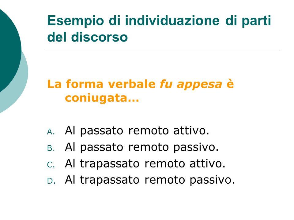 Esempio di individuazione di parti del discorso La forma verbale fu appesa è coniugata… A.
