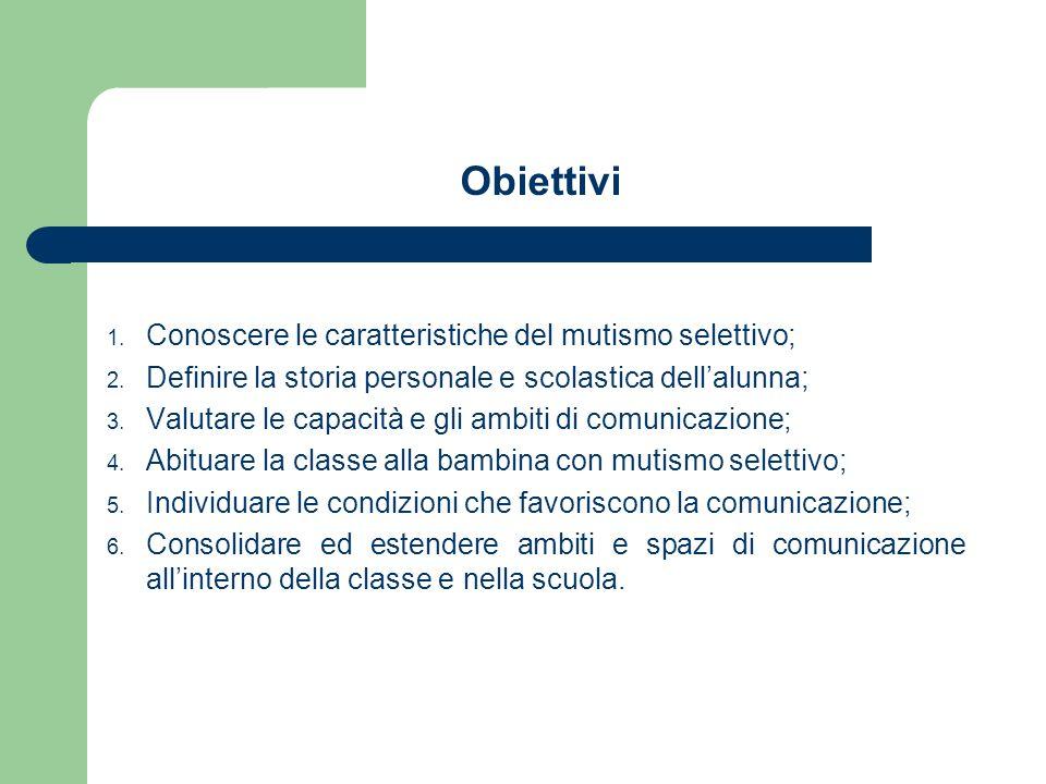 Obiettivi 1. Conoscere le caratteristiche del mutismo selettivo; 2.