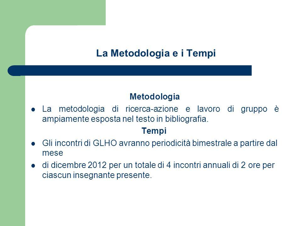La Metodologia e i Tempi Metodologia La metodologia di ricerca-azione e lavoro di gruppo è ampiamente esposta nel testo in bibliografia.