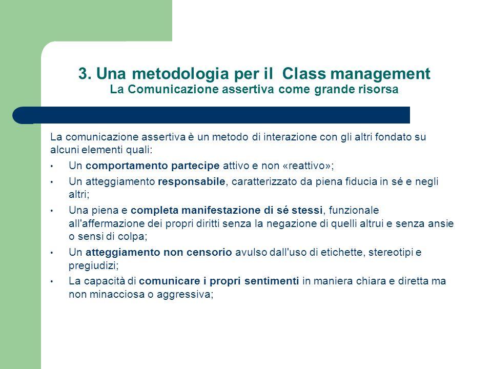3. Una metodologia per il Class management La Comunicazione assertiva come grande risorsa La comunicazione assertiva è un metodo di interazione con gl