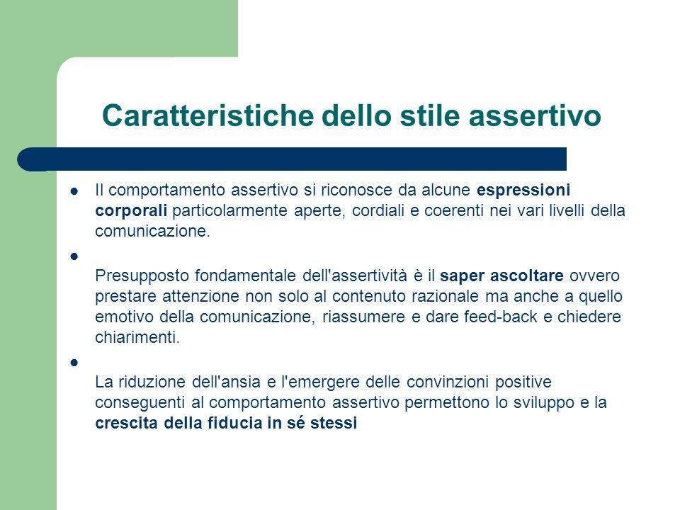 Caratteristiche dello stile assertivo Il comportamento assertivo si riconosce da alcune espressioni corporali particolarmente aperte, cordiali e coerenti nei vari livelli della comunicazione.