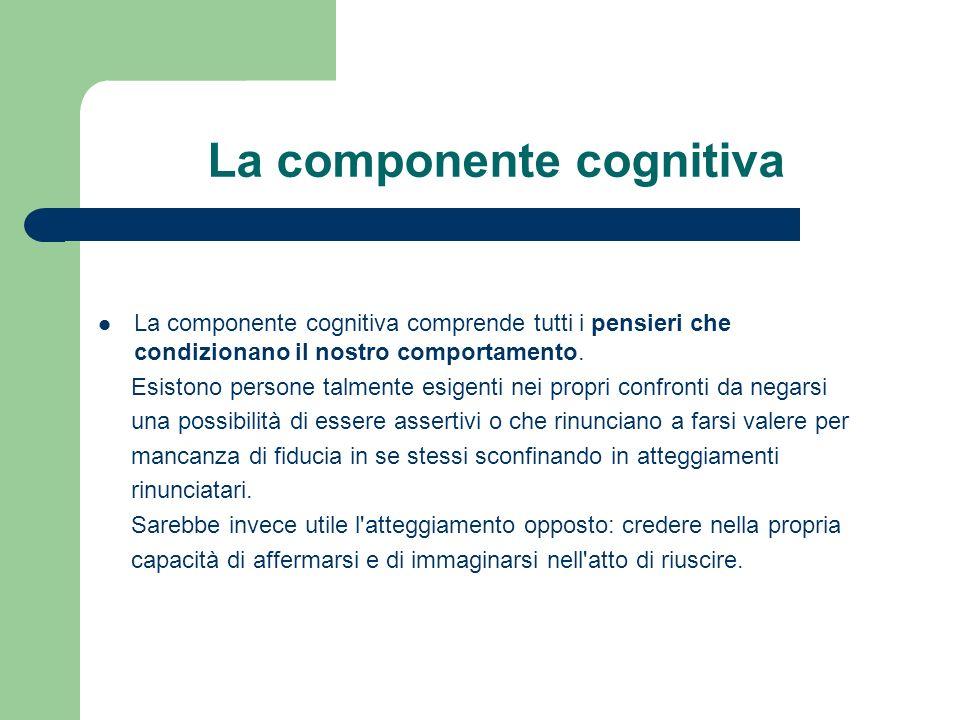 La componente cognitiva La componente cognitiva comprende tutti i pensieri che condizionano il nostro comportamento.