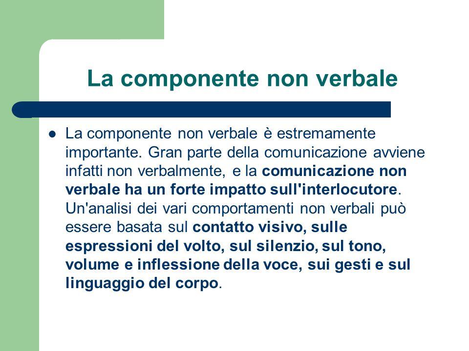 La componente non verbale La componente non verbale è estremamente importante.