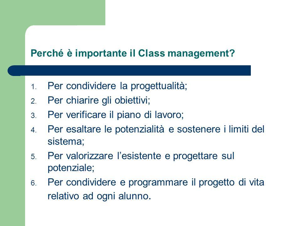 Perché è importante il Class management. 1. Per condividere la progettualità; 2.