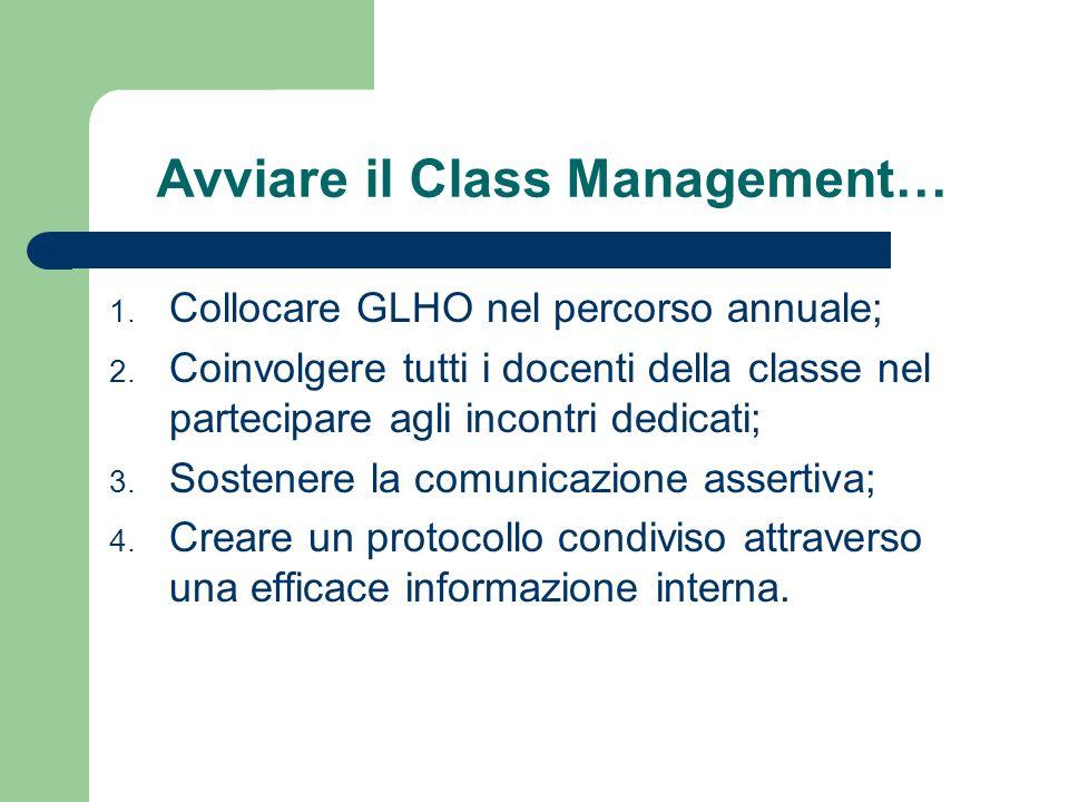 Avviare il Class Management… 1. Collocare GLHO nel percorso annuale; 2.