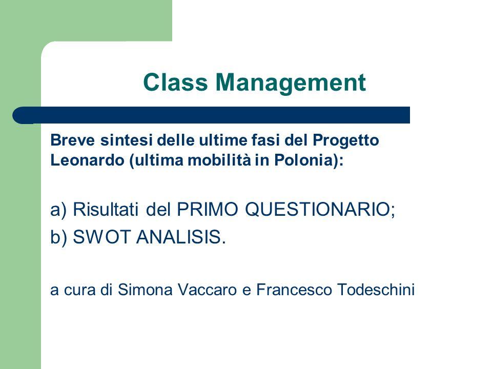 Definizione di Class Management Cosa è il management.