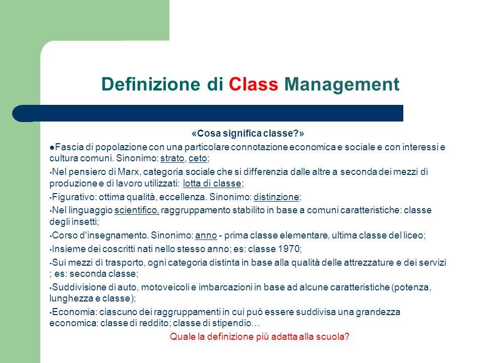 Cosa intendiamo per Class Management 1.Conduzione della classe; 2.