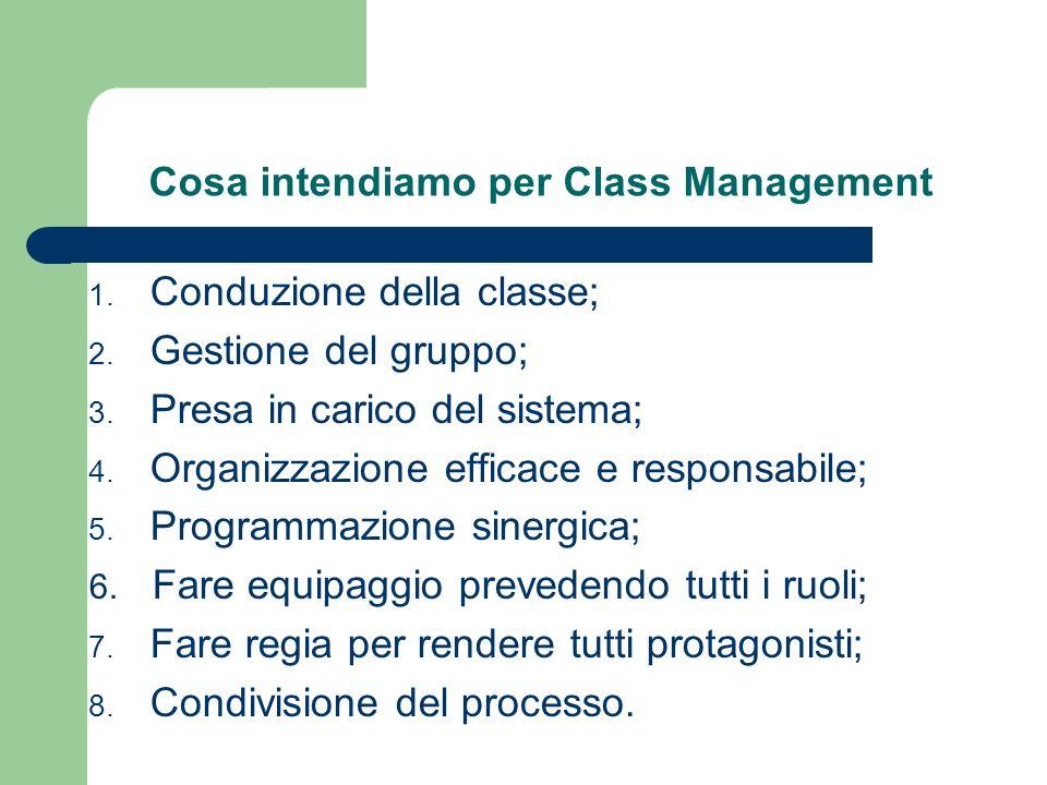 Cosa intendiamo per Class Management 1. Conduzione della classe; 2.
