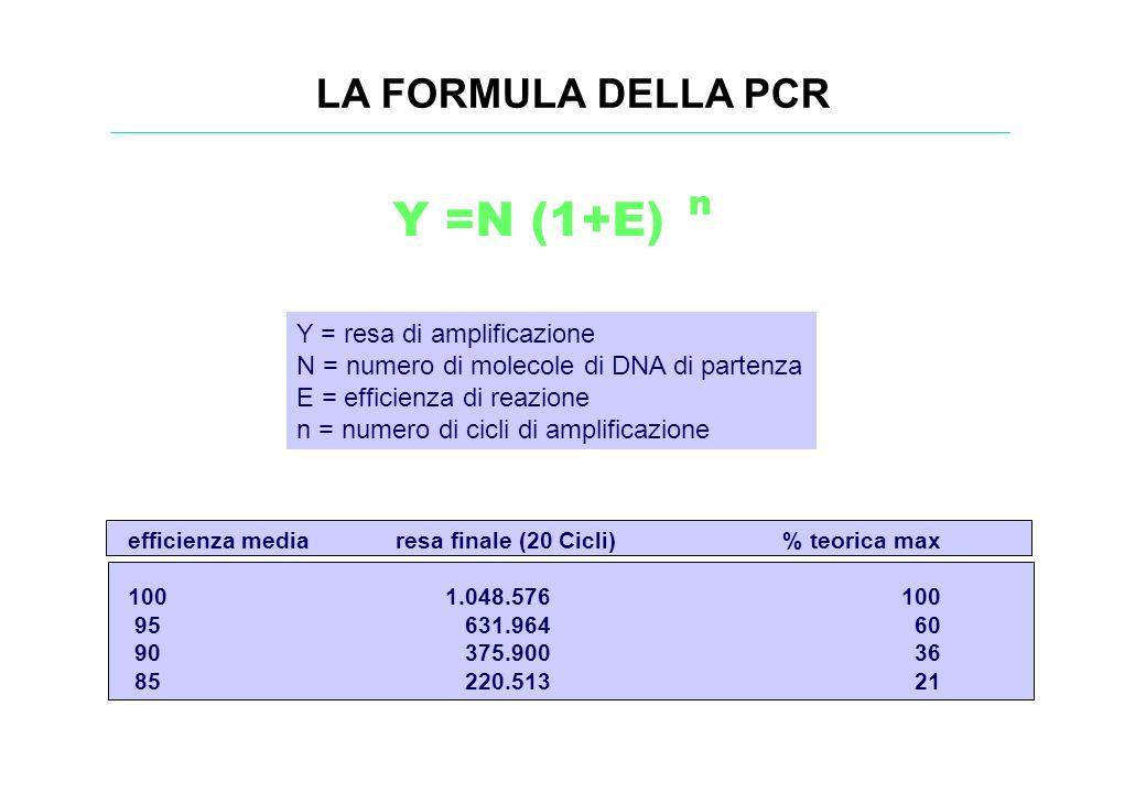LA FORMULA DELLA PCR Y =N (1+E) n Y = resa di amplificazione N = numero di molecole di DNA di partenza E = efficienza di reazione n = numero di cicli