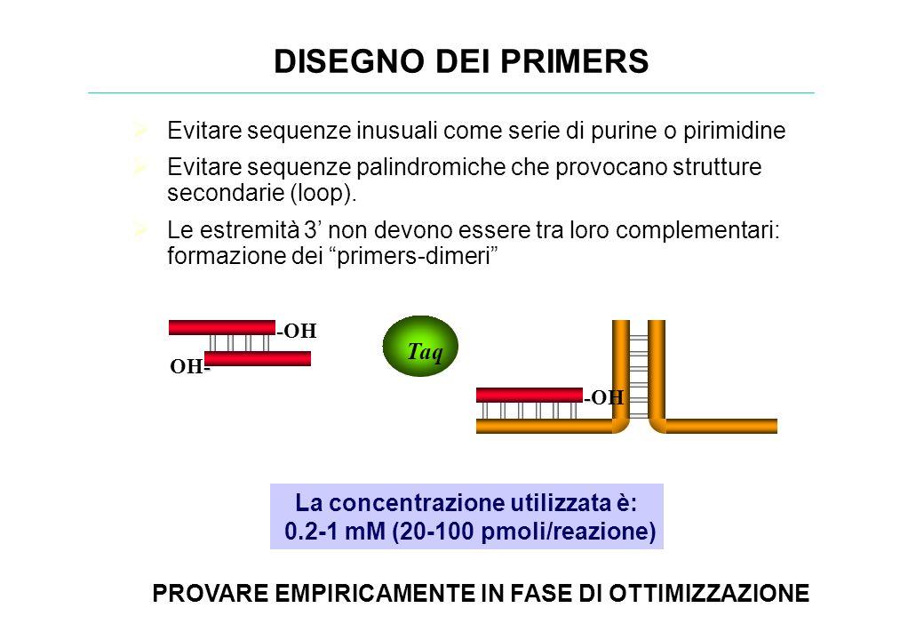 Evitare sequenze inusuali come serie di purine o pirimidine Evitare sequenze palindromiche che provocano strutture secondarie (loop). Le estremità 3 n