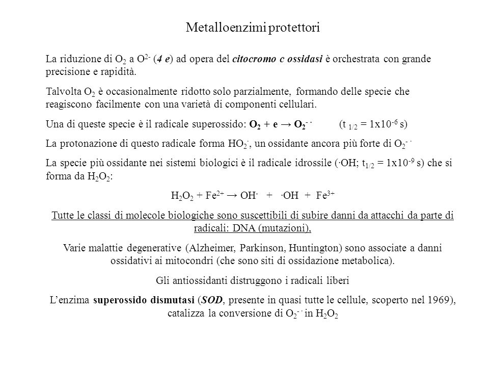Metalloenzimi protettori La riduzione di O 2 a O 2- (4 e) ad opera del citocromo c ossidasi è orchestrata con grande precisione e rapidità. Talvolta O