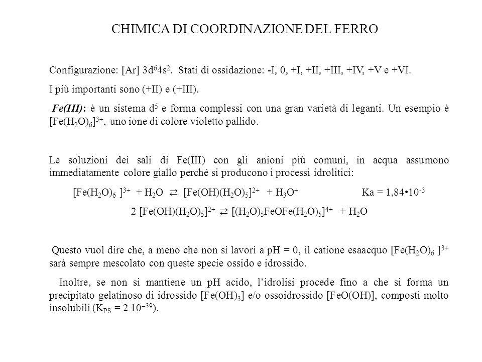 CHIMICA DI COORDINAZIONE DEL FERRO Configurazione: [Ar] 3d 6 4s 2. Stati di ossidazione: -I, 0, +I, +II, +III, +IV, +V e +VI. I più importanti sono (+