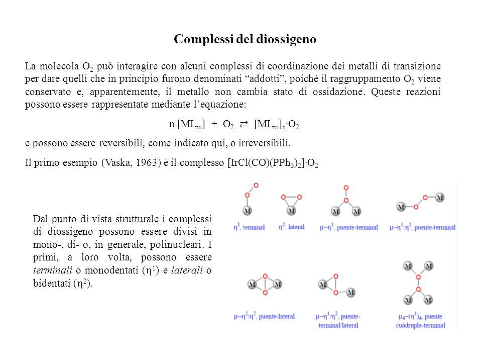 Complessi del diossigeno La molecola O 2 può interagire con alcuni complessi di coordinazione dei metalli di transizione per dare quelli che in princi
