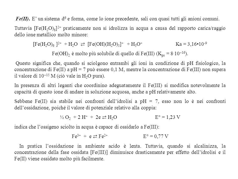 Fe(II). E un sistema d 6 e forma, come lo ione precedente, sali con quasi tutti gli anioni comuni. Tuttavia [Fe(H 2 O) 6 ] 2+ praticamente non si idro