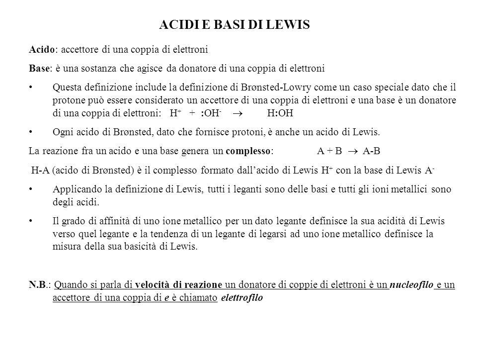 ACIDI E BASI DI LEWIS Acido: accettore di una coppia di elettroni Base: è una sostanza che agisce da donatore di una coppia di elettroni Questa defini