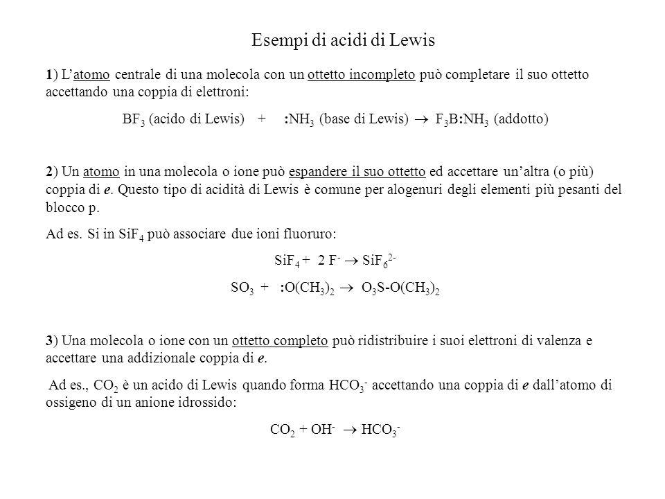 Esempi di acidi di Lewis 1) Latomo centrale di una molecola con un ottetto incompleto può completare il suo ottetto accettando una coppia di elettroni