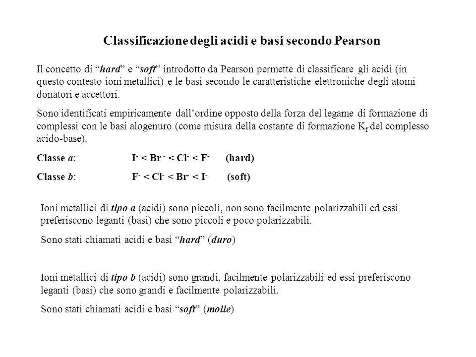 Classificazione degli acidi e basi secondo Pearson Il concetto di hard e soft introdotto da Pearson permette di classificare gli acidi (in questo cont