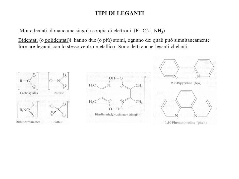 TIPI DI LEGANTI Monodentati: donano una singola coppia di elettroni (F - ; CN -, NH 3 ) Bidentati (o polidentati)i: hanno due (o più) atomi, ognuno de