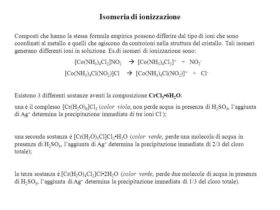 Isomeria di ionizzazione Composti che hanno la stessa formula empirica possono differire dal tipo di ioni che sono coordinati al metallo e quelli che