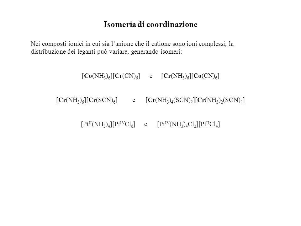 Isomeria di coordinazione Nei composti ionici in cui sia lanione che il catione sono ioni complessi, la distribuzione dei leganti può variare, generan