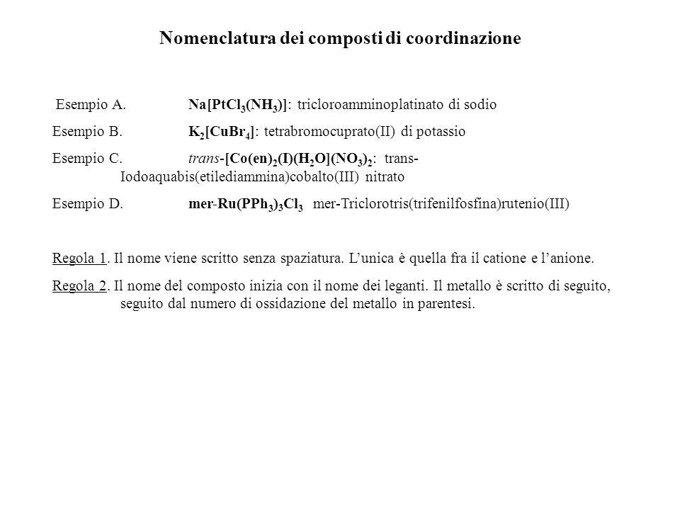 Nomenclatura dei composti di coordinazione Esempio A. Na[PtCl 3 (NH 3 )]: tricloroamminoplatinato di sodio Esempio B. K 2 [CuBr 4 ]: tetrabromocuprato