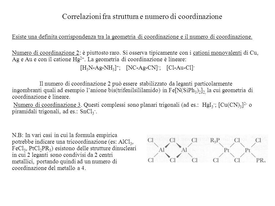 Correlazioni fra struttura e numero di coordinazione Esiste una definita corrispondenza tra la geometria di coordinazione e il numero di coordinazione