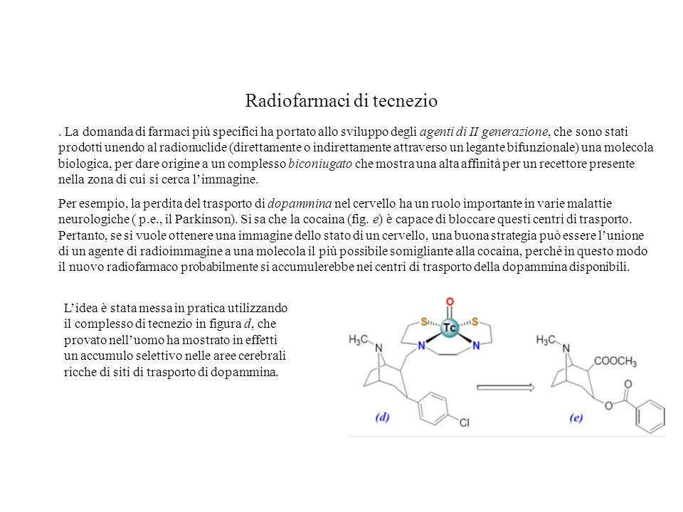 Radiofarmaci di tecnezio. La domanda di farmaci più specifici ha portato allo sviluppo degli agenti di II generazione, che sono stati prodotti unendo