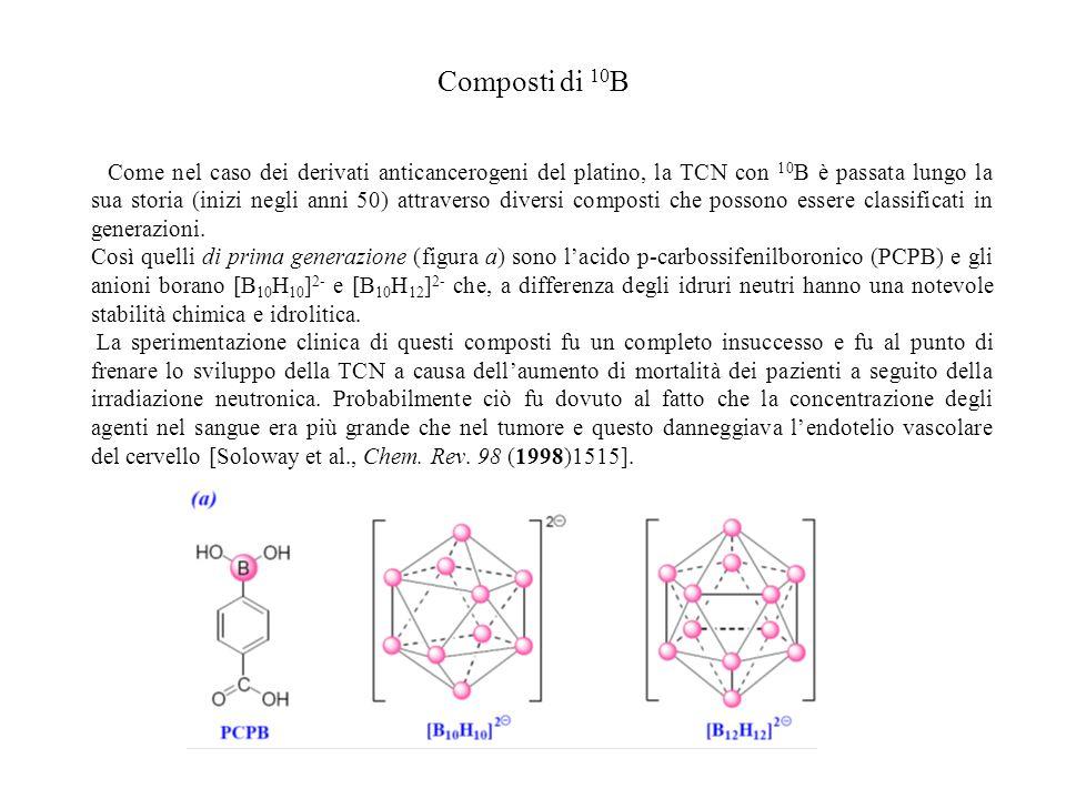 Composti di 10 B Come nel caso dei derivati anticancerogeni del platino, la TCN con 10 B è passata lungo la sua storia (inizi negli anni 50) attravers