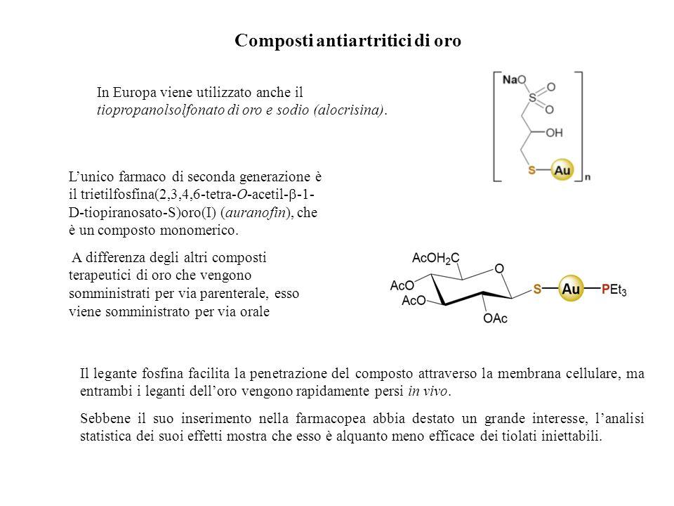 Composti antiartritici di oro In Europa viene utilizzato anche il tiopropanolsolfonato di oro e sodio (alocrisina). Lunico farmaco di seconda generazi
