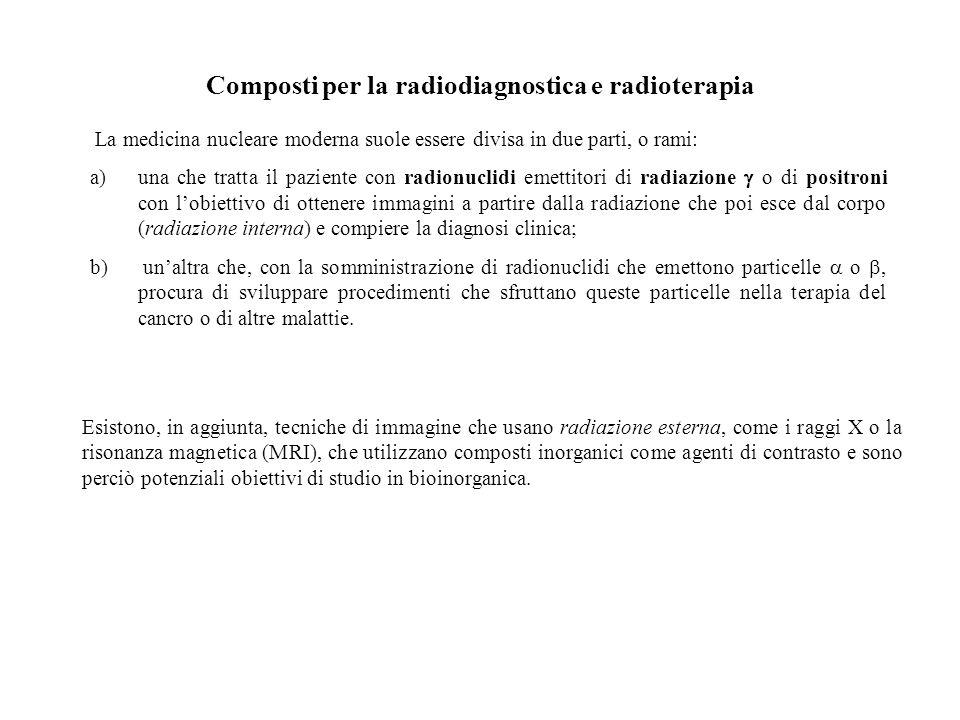 Composti per la radiodiagnostica e radioterapia La medicina nucleare moderna suole essere divisa in due parti, o rami: a)una che tratta il paziente co