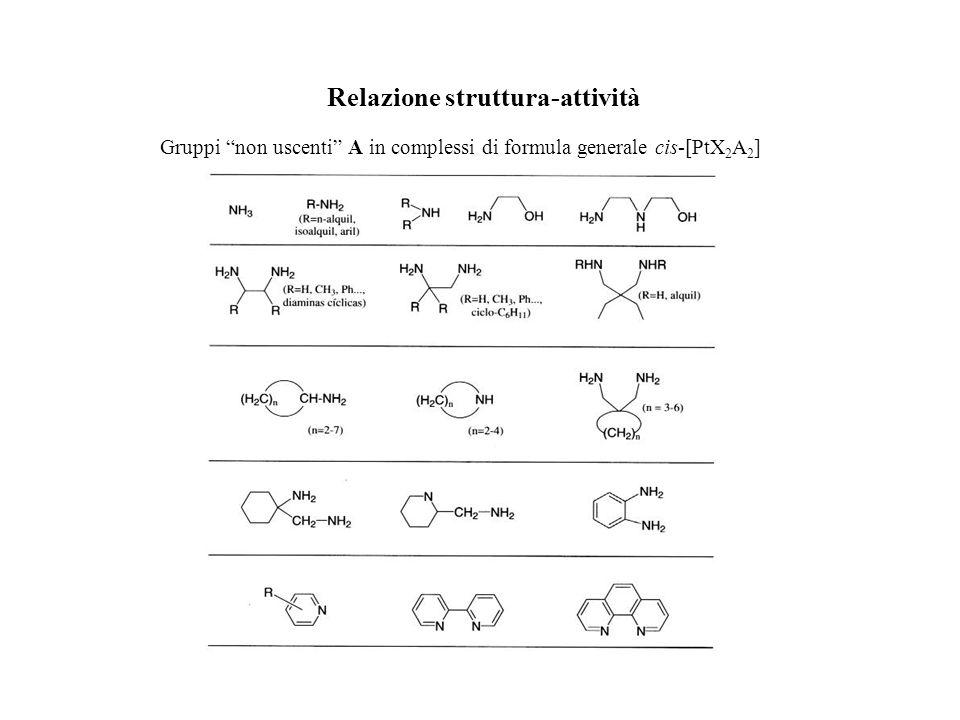 Relazione struttura-attività Gruppi non uscenti A in complessi di formula generale cis-[PtX 2 A 2 ]