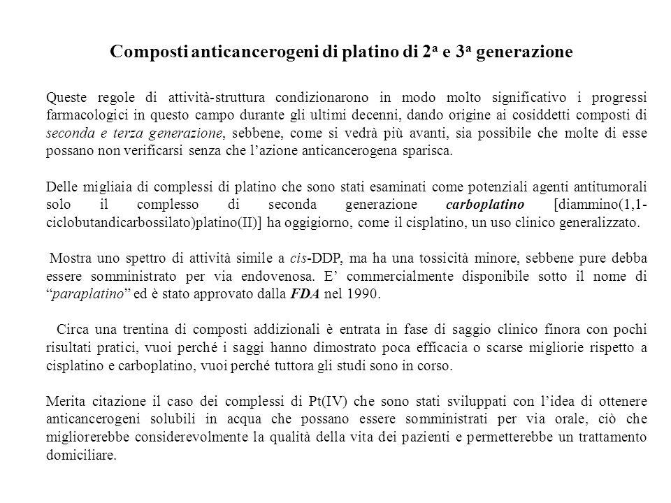 Composti anticancerogeni di platino di 2 a e 3 a generazione Queste regole di attività-struttura condizionarono in modo molto significativo i progress