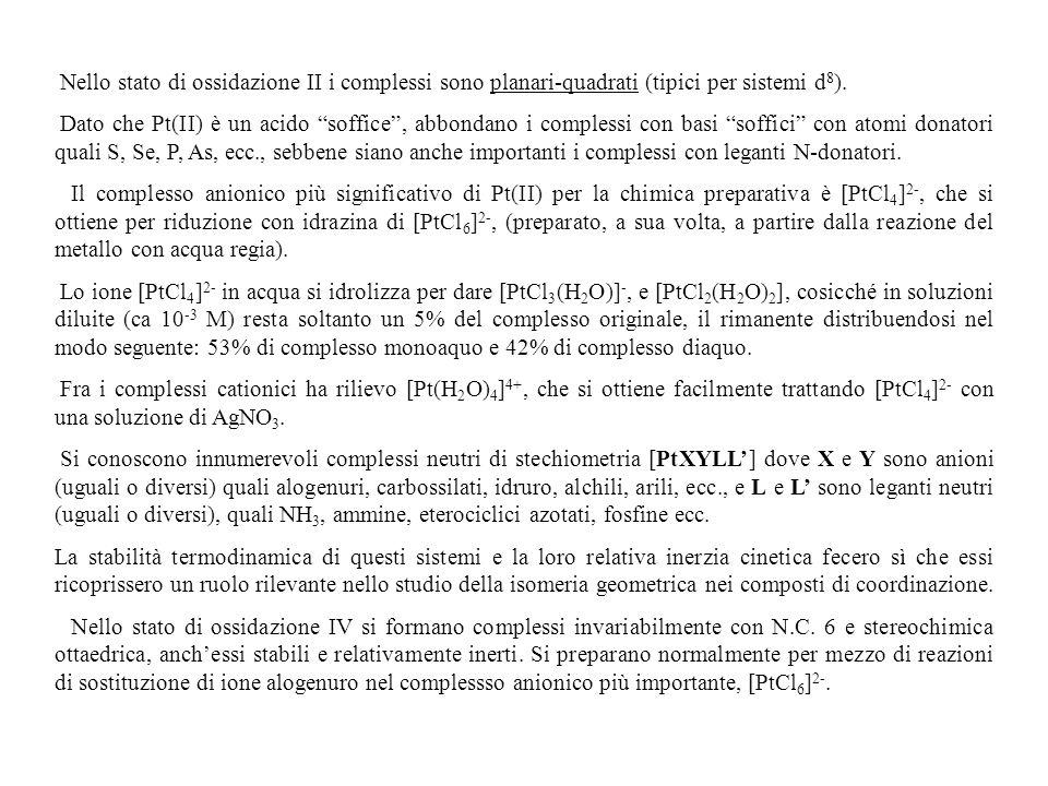 Nello stato di ossidazione II i complessi sono planari-quadrati (tipici per sistemi d 8 ). Dato che Pt(II) è un acido soffice, abbondano i complessi c