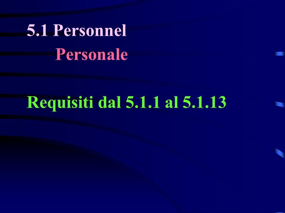 5.1 Personnel Personale Requisiti dal 5.1.1 al 5.1.13